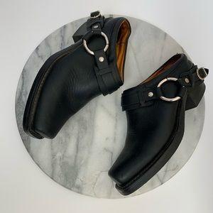 FRYE slip on harness mules